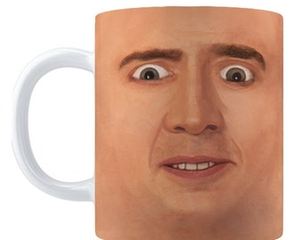 Creepy Nicolas Cage Parody CAGE FACE Coffee MUG, 11oz/15oz, Weird Face Off Meme
