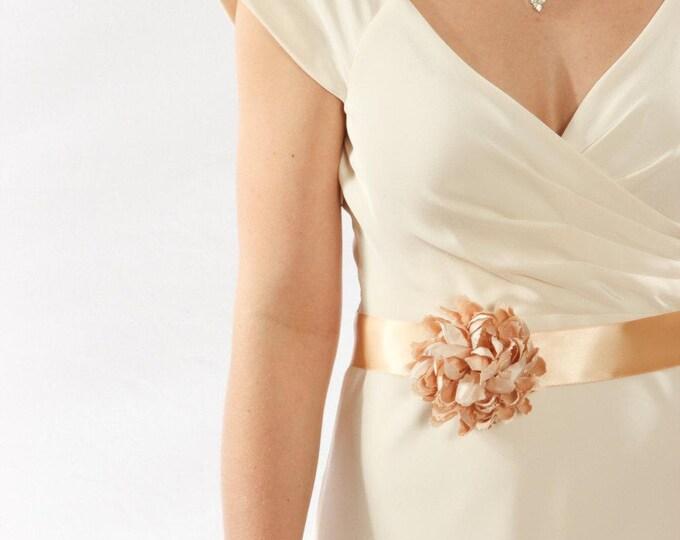 Wedding Belt - Champagne Belt W/ Blush Flower - Handmade Bridal Sash Blush Soft Pink Romantic - 1000190
