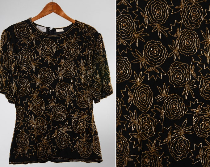 XS Small 1960s 1970s Beaded Vintage Top | 5FF