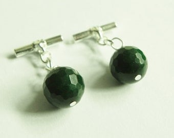 Green gemstone silver plated cufflinks with green quartzite