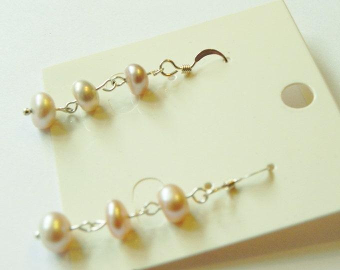 Genuine freshwater pink/peach pearl sterling silver drop/dangle hook earrings