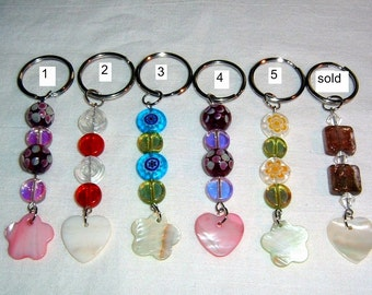 Glass Beaded Keychains with shell charms