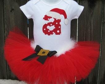 Personalized Santa Baby Christmas Tutu Set with Matching Headband | Red Santa Tutu | Christmas Photo Prop