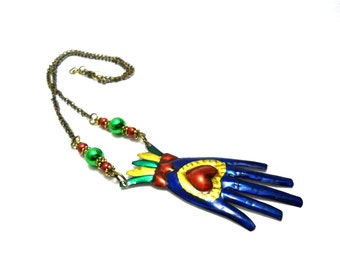 shiva hand tin necklace