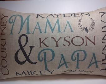 Grandma and grand children kids pillow