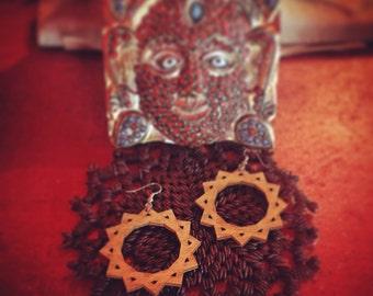 Wood Geometric Sun Earrings