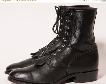30% OFF BLack Lacer Boots Men's Size 10 .5 EE Extra Wide