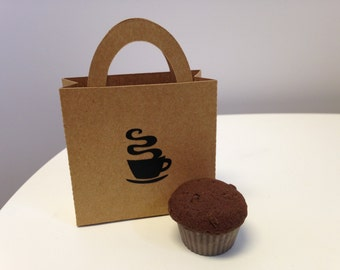 """18"""" Doll Food One (1) Chocolate Muffin and Bag Great Coffee Cart/Shop Item!"""