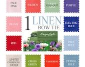 Bow Tie - linen / Wedding bowtie - Groomsmen - solid color - freestyle bowtie / self tie, mens adjustable bowtie - made by Bagzetoile