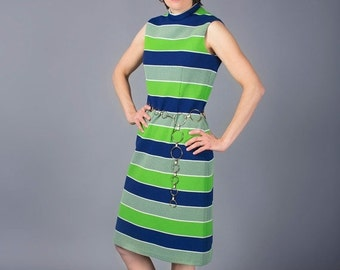 ON SALE SALE Mod Dress - Rona New York Dress - Green and Blue 1970s Dress - Shift Dress - Striped Dress