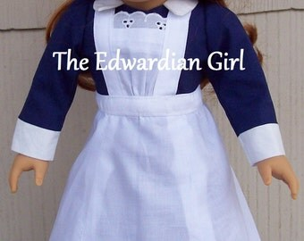 Pre-order Titanic maid blue doll dress, apron, cap, historical, fits 18 inch play dolls such as American Girl, Springfield, OG. Made in USA