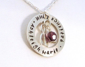 Memorial Necklace with Awareness Ribbon - Domestic Violence Awareness Jewelry - Cancer Awareness Memorial Necklace