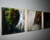 Deconstructing Rita (Mixed Media Original on Wood Panel, Triptych—3, 12x12)