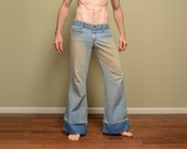 vintage 60s bellbottom jeans flare pants big bell bottom 1960s hippie low rise hip hugger pants distressed denim JC Penny