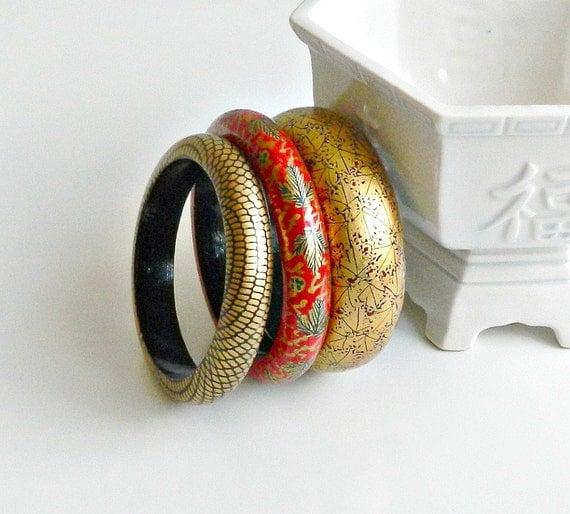 Vintage Hand Painted Bangle Bracelets Set of 3 by retrogroovie