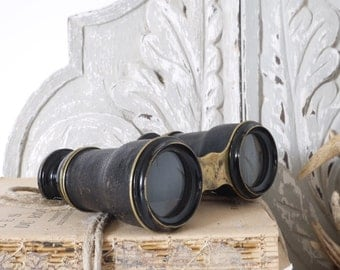 French vintage  Binoculars Field bronze and leather