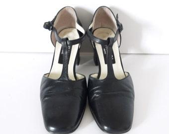 French Vintage black leather pumps T- straps maryjaynes size 6.5 EU size 37