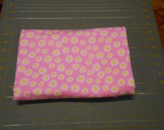 White Daisy Yellow Center on Pink Extra Large 41 x 41 Handmade Flannel Receiving Swaddle Baby Blanket