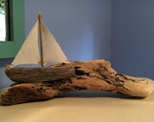 Driftwood Sailboat Driftwood Art Beach Art Afloat on  Waves