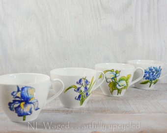 Unique coffee mugs, Hand painted with flowers, coffee cups, original flower art