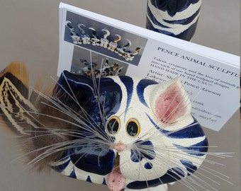 """This blue """"Tom Cat"""" business card holder, sculpture, Clay kitty, hand made, hand sculpted, unique cat, by Pencepets, Pence animal sculptures"""