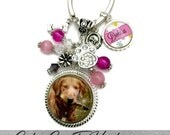 CUSTOM PHOTO BEZEL Pendant Necklace Or Keychain With Matching Beads, Dog Dish And Bone Charm Along With Additional Name Charm