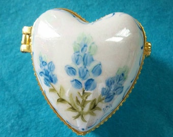 Beautiful Hand Painted Miniature Hinged Heart Box