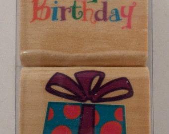 Stamp Craft Wooden Rubber Stamp Set Happy Birthday Gift or Present