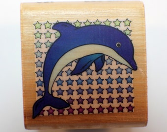 Star of the Show Dolphin Ocean Nautical Combined Resourses Intl.  Wooden Rubber Stamp