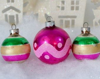 Vintage Christmas Ornaments Pink Green Gold Striped Mica Polka Dots Scallops Set of 3 Three