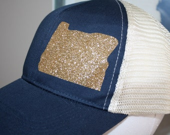 Oregon 'Sparkly State' Trucker Hat - Gold Oregon Hat - Oregon State Shape Hat