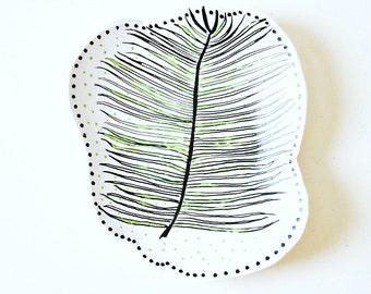 Clay dish, palm leaf painting, ring dish, trinket dish, modern home decor, botanical illustration, painted clay dish