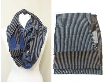 Japanese Boro Folk Textile. Antique Striped Indigo Cotton Fabric. Vintage Hand Loomed Ikat Scarf. (Ref: 1610)