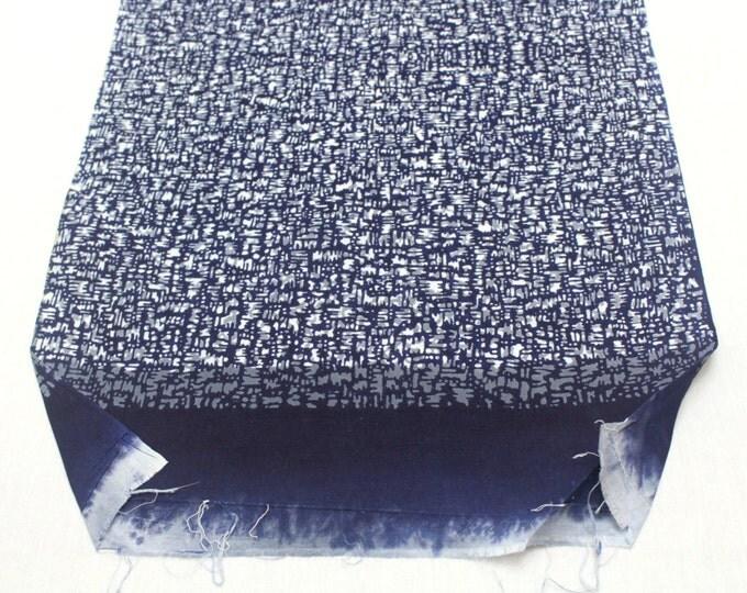 Japanese Artisan Cotton. Vintage Yukata Bolt. Blue Indigo and Gray layered Abstract Modern. Katazome Batik (Ref: 1449)
