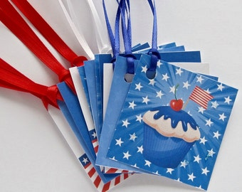 Patriotic Cupcakes Tags, Wedding tags, gift tags lot of 12