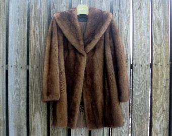 Vintage Mink Trotter Fur Coat, Brown, Size 14, 1979, Flemington Fur Company, Flemington, NJ, Excellent Condition