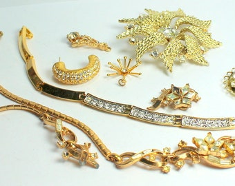 Destash Craft Lot of Vintage and Salvaged Gold Metal and Clear Rhinestone Jewelry Pieces