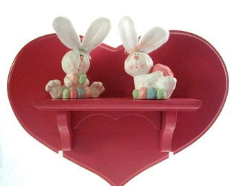 Vintage Upcycled Raspberry Wood Heart Shelf 1990s