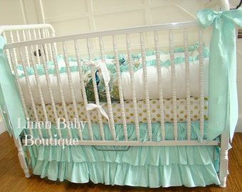 Peacock Crib Bedding, Baby Bedding 3 Pieces. Layered Mint Crib Skirt, Bumpers, Bows.