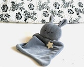 Grey bunny baby lovey Taggy blanket Baby comforter Comfort blanket Sleep cloth Rabbit Hare soft toy plushie softie White star Brown bear