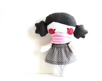 "Rag doll Stuffed toy Stuffed doll Plushie Softie Polka dots Polka dotted Handmade Grey Pale pink scarf 9.8"" 25 cm"