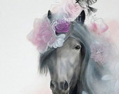 RESERVED Horse wall art, Acrylic Painting, Animal Painting Portrait, LARGE art Print, floral, Wall Decor, Wall hanging Wall Art