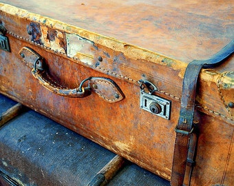 Luggage photography, gold rust blue, still life photo, close-up photo, suitcase fine art photography, cheerful wall decor LR den office