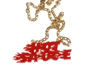 Red HOT SAUCE Acrylic Necklace With Gold Chain and Clasp
