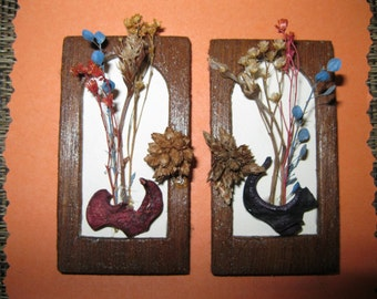 Doll House Miniature Dried Flower Wall Hanging #19 Set Of Two