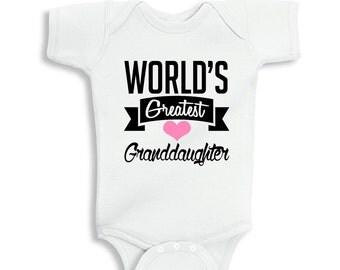 World's Greatest Granddaughter White Baby Girl Bodysuit
