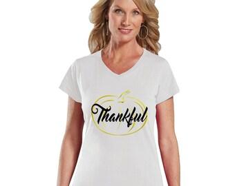 Thankful Gold Pumpkin Women V-Neck Shirt