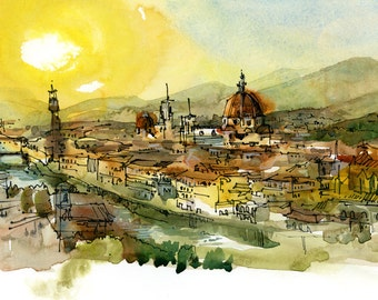 Sunset over Florence - archival fine art print from an original watercolor sketch