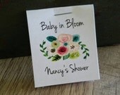 SALE Personalized MINI Seeds floral design Baby in Bloom Wildflowers or Sunflowers Flower Seed Packet Baby Shower Favors Shabby Chic Cheap
