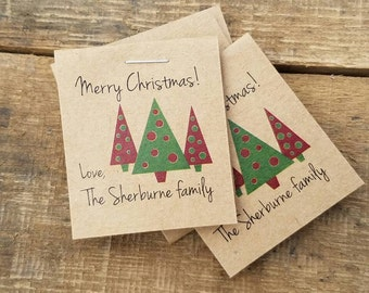 Christmas Party Favors Personalized Happy Holidays Merry Christmas  Happy New Year Keepsakes  Shabby Chic Rustic Flower Seed Packets